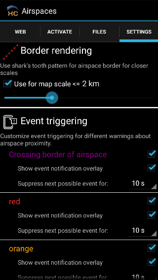 XCTrack 0.5.1.1 Airspace settings